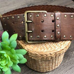 WCM New York Womens Leather Belt Wide Vintage Boho